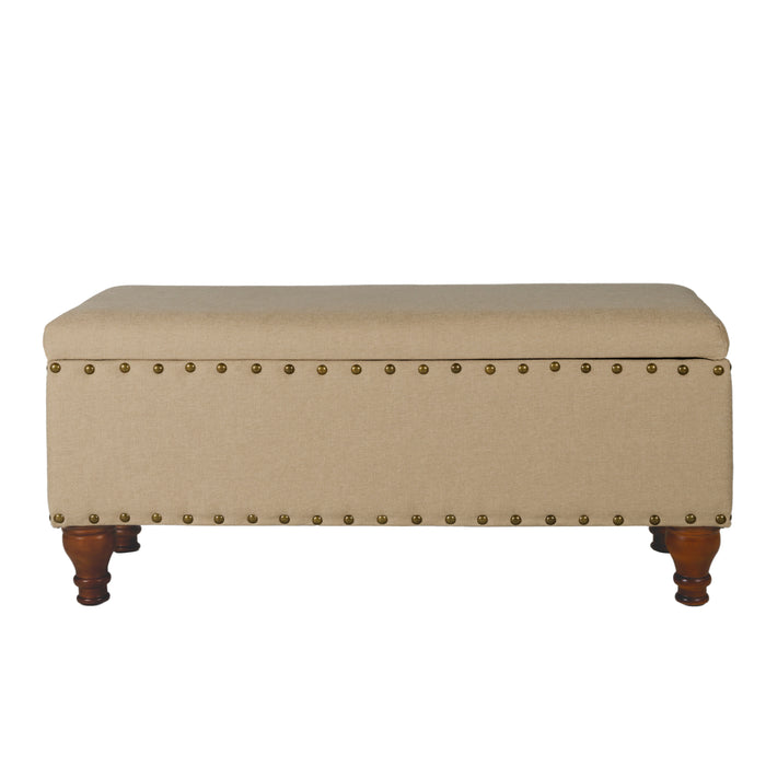 Large Storage bench with Nailhead Trim - Tan Woven