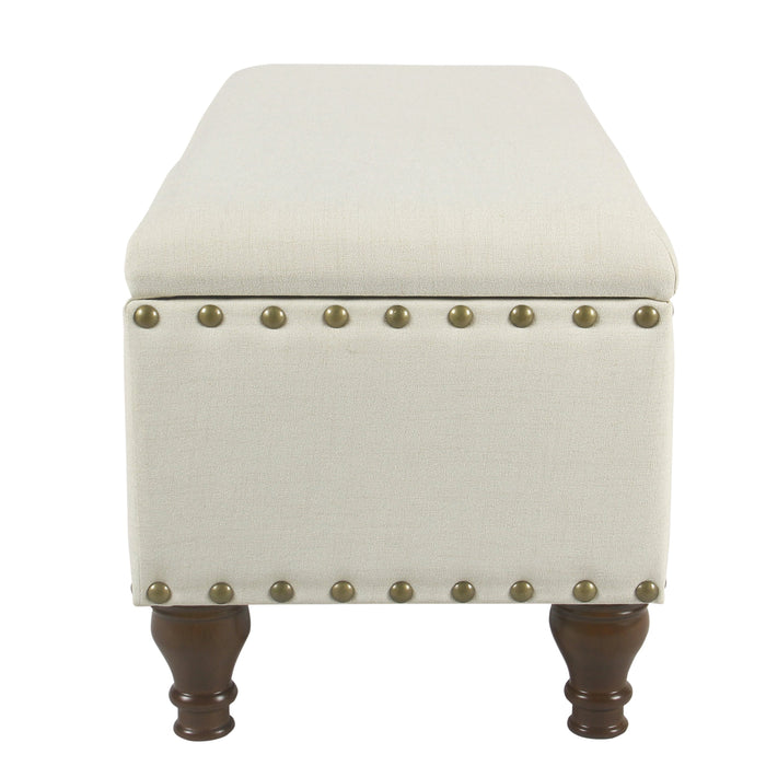 Large Storage Bench with Nailhead Trim - Textured Neutral