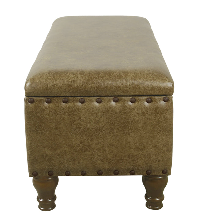 Large Storage Bench with Nailhead Trim - Distressed Brown Faux Leather