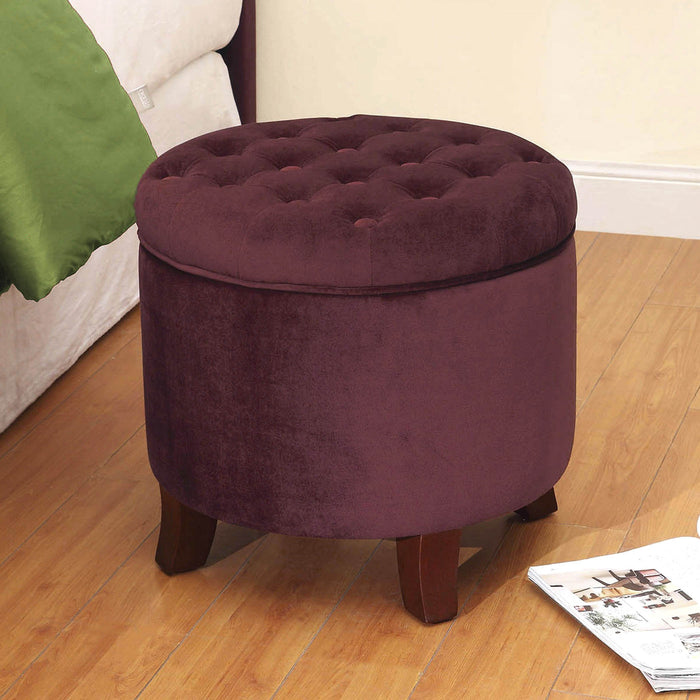Velvet Tufted Round Ottoman with Storage - Burgundy Red