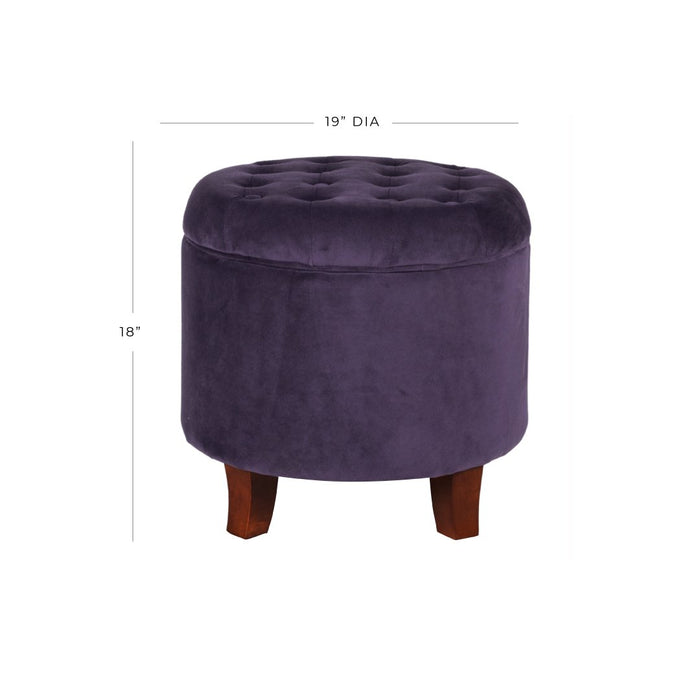 Velvet Tufted Round Ottoman with Storage - Deep Purple