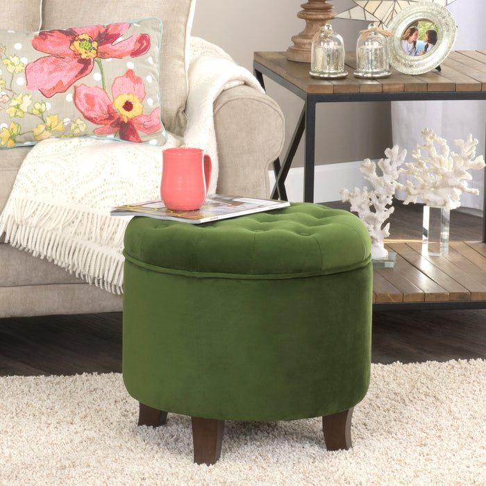 Velvet Tufted Round Ottoman with Storage - Green