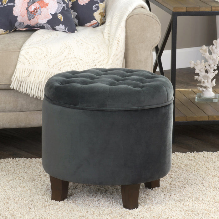 Velvet Tufted Round Ottoman with Storage - Dark Gray