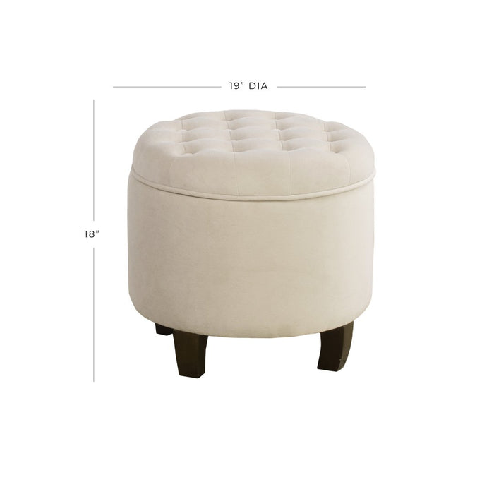 Velvet Tufted Round Ottoman with Storage - Cream