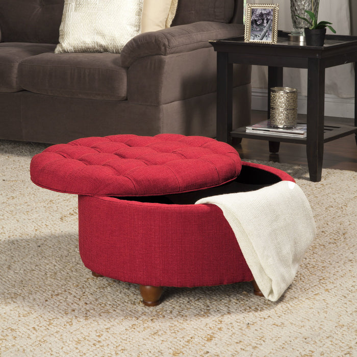 "28"" Tufted Round Cocktail Storage Ottoman - Red Woven"