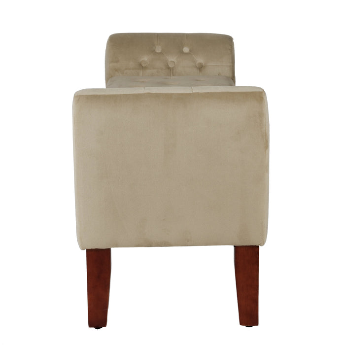 Velvet Tufted Storage Bench and Settee - Tan