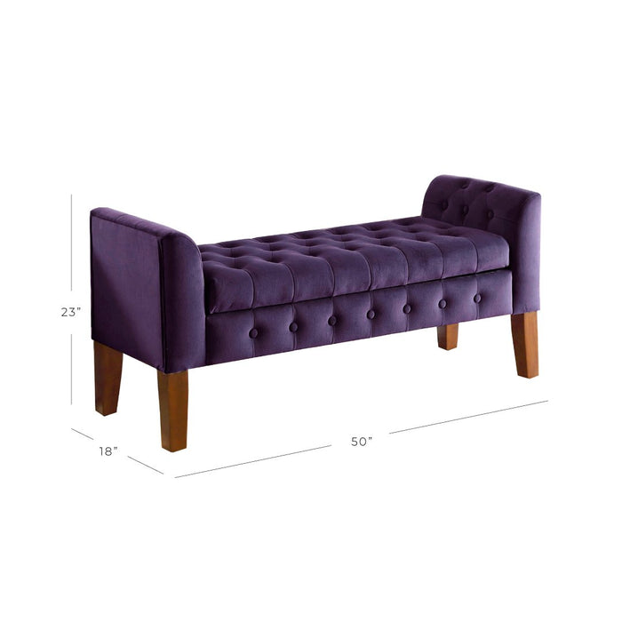 Velvet Tufted Storage Bench and Settee - Purple