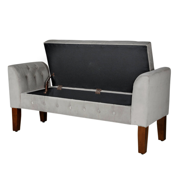 Velvet Tufted Storage Bench and Settee - Light Gray