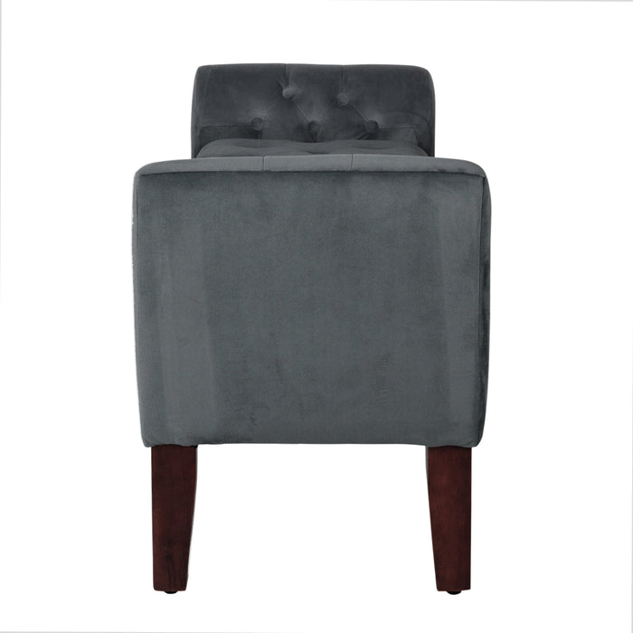 Velvet Tufted Storage Bench and Settee - Dark Gray