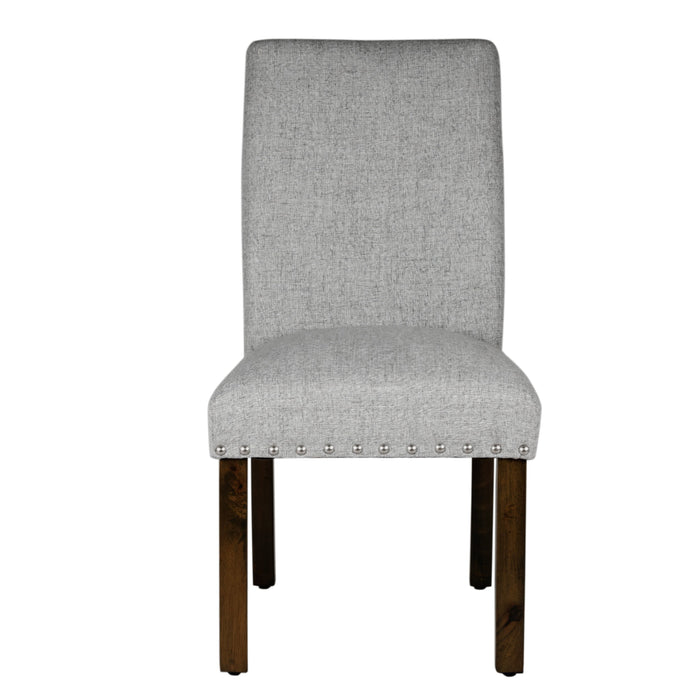 Dining Chair with Nailhead Trim - Light Gray - Set of 2