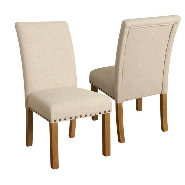 Dining Chair with Nailhead Trim - Cream - Set of 2