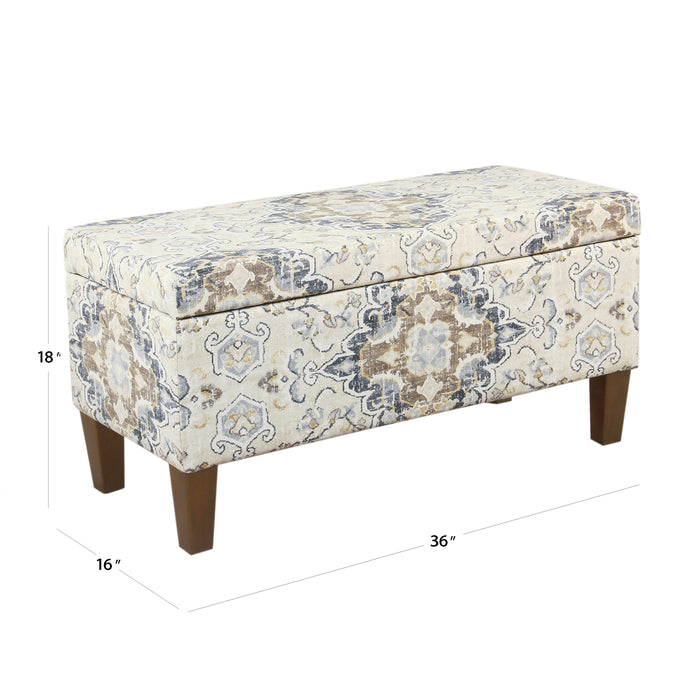 Large Decorative Storage Bench - Antiqued Ebony