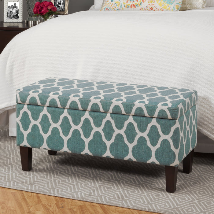 Large Decorative Storage Bench - Geo Teal