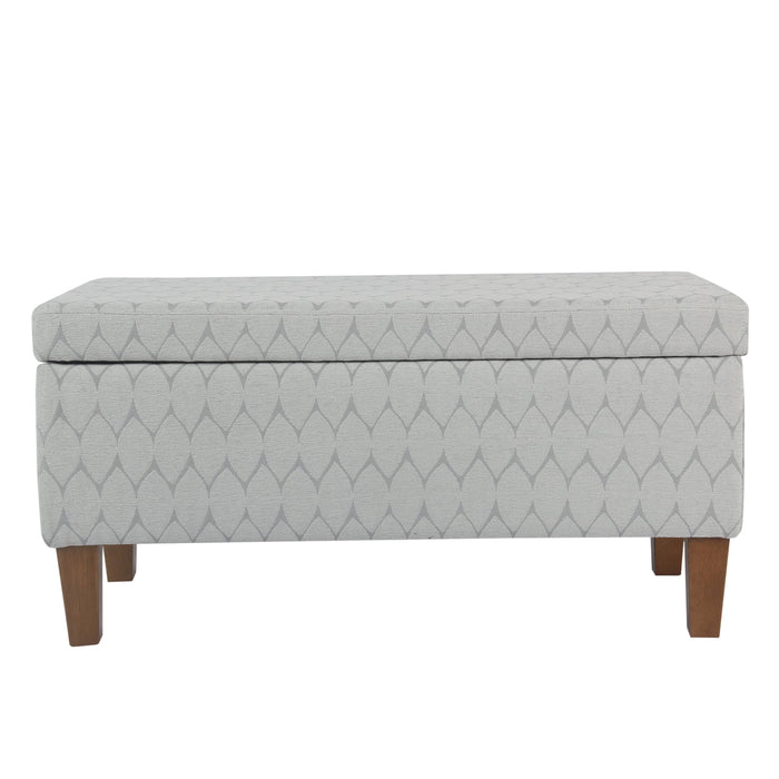 Large Decorative Storage Bench - Textured Gray Geo