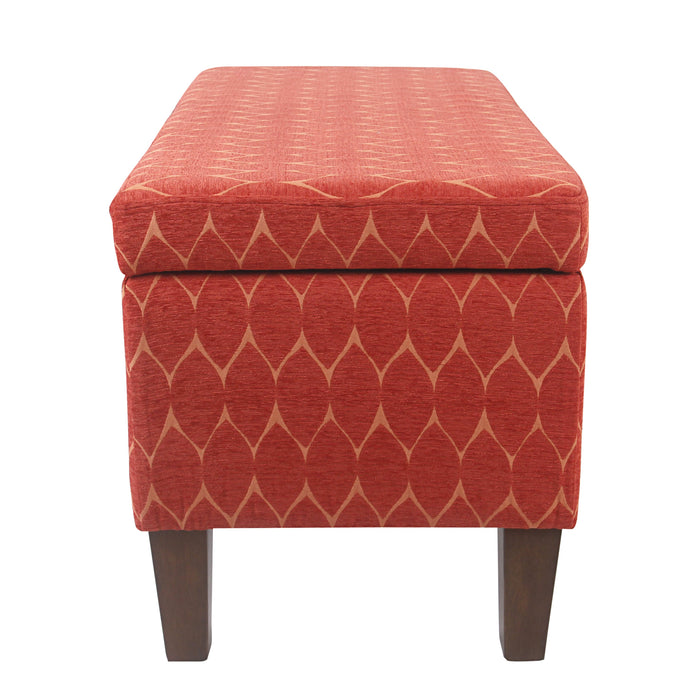 Large Decorative Storage Bench - Textured Persimmon Orange Geo