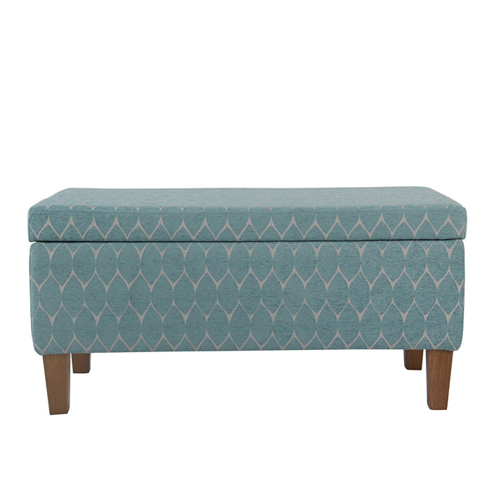 Large Decorative Storage Bench - Textured Teal Geo