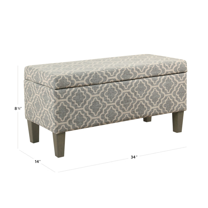 Large Decorative Storage Bench - Ash Geometric Trellis
