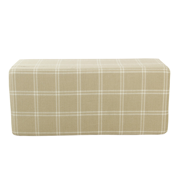 Large Decorative Storage Bench - Tan Plaid