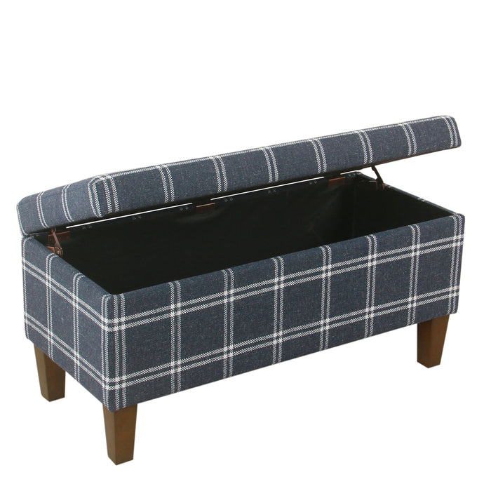 Large Decorative Storage Bench - Navy Plaid