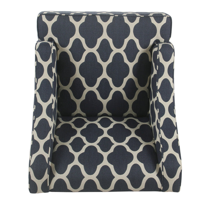 Classic Swoop Arm Chair - Navy Geometric
