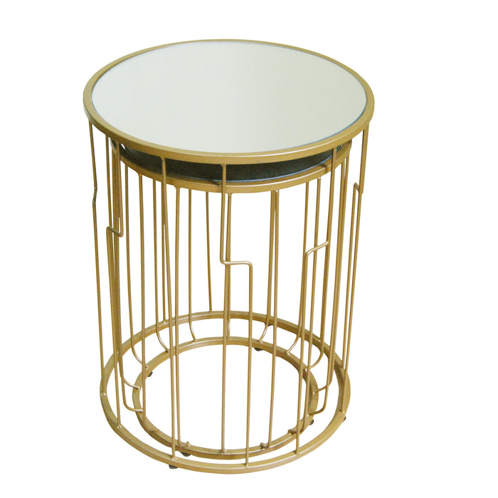 Round Metal Accent Table with Glass top - Black