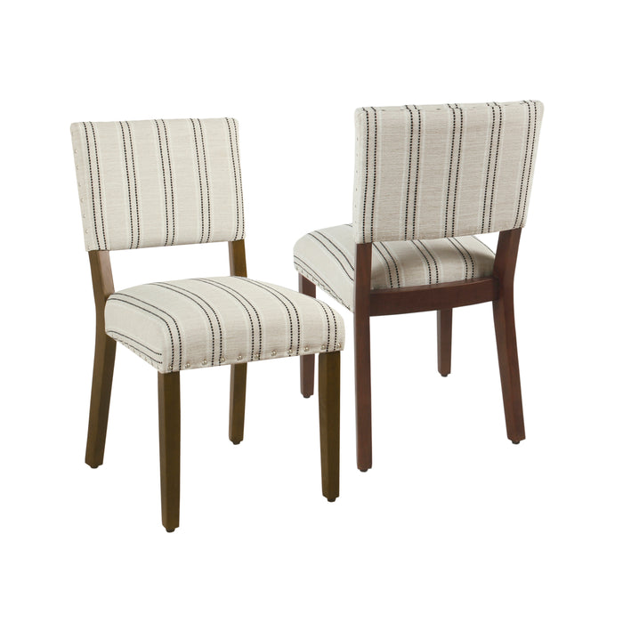 Dining Chair - Black and White Stripe - Set of 2