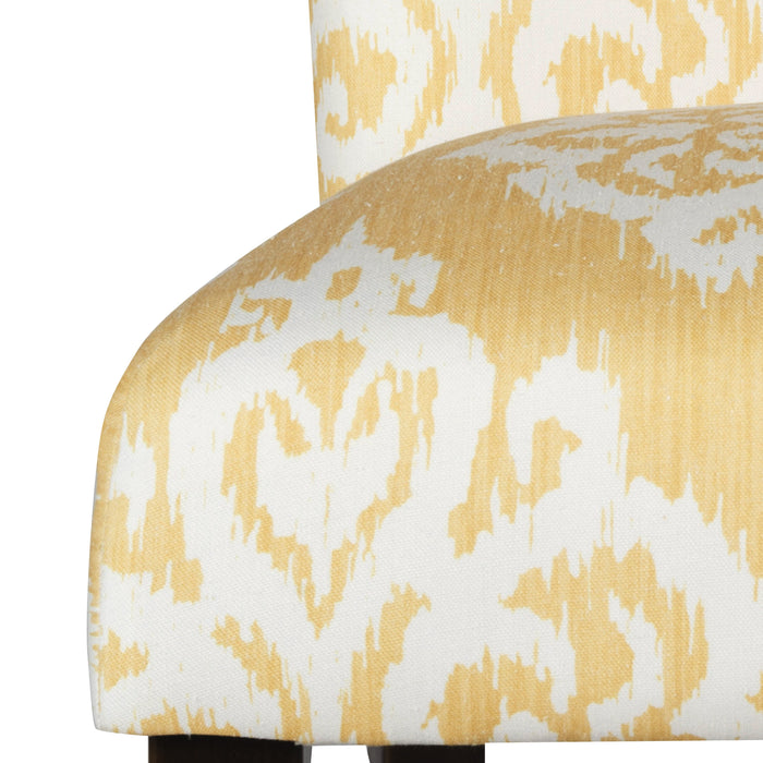 Classic Parsons Dining Chair - Yellow and Cream Damask - Set of 2
