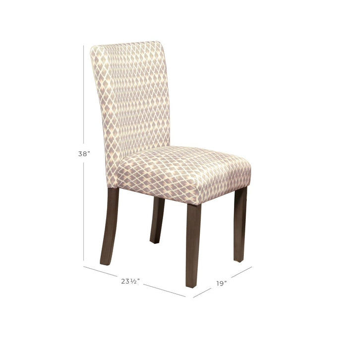 Classic Parsons Dining Chair - Gray Lattice - Set of 2
