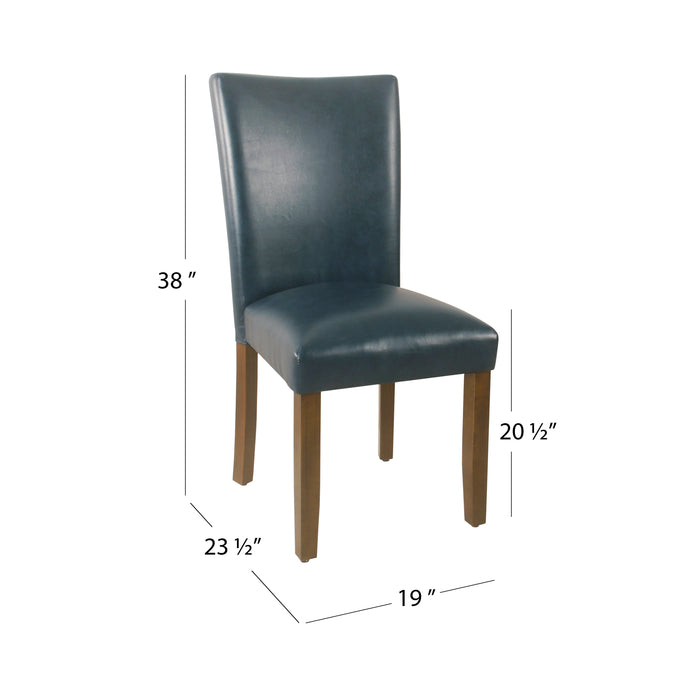 HomePop Classic Parsons Dining Chair - Dark Blue Faux Leather (Set of 2)