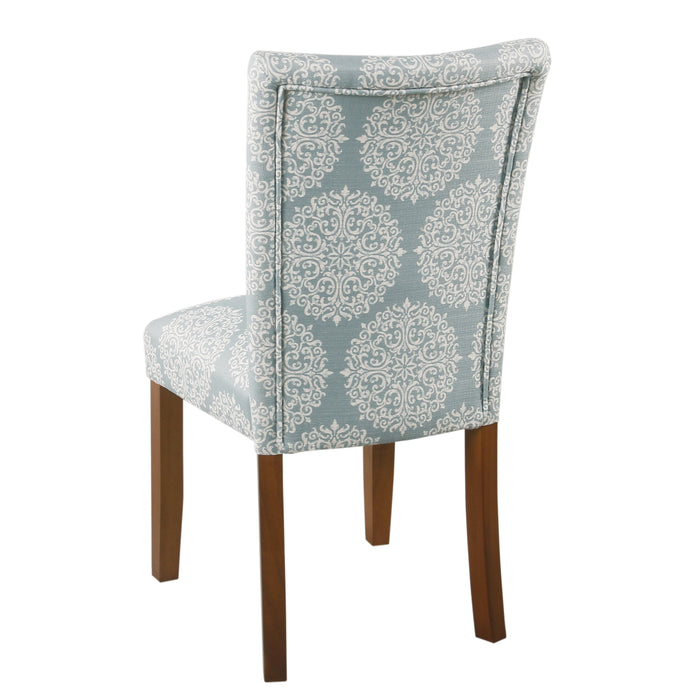 Classic Parsons Dining Chair  - Blue and Cream Medallion - Set of 2