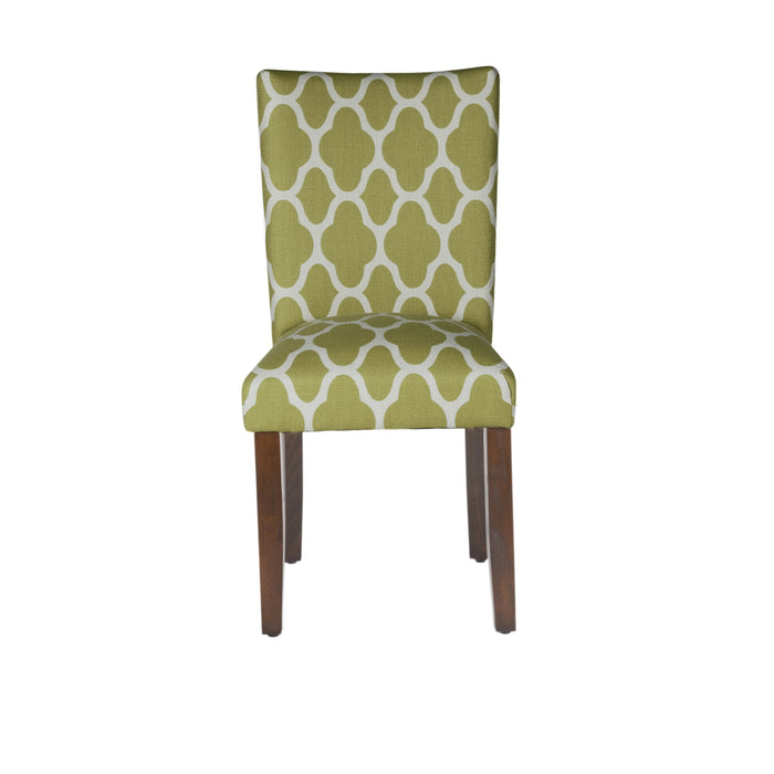 Classic Parsons Dining Chair -  Geo Light Green - Set of 2