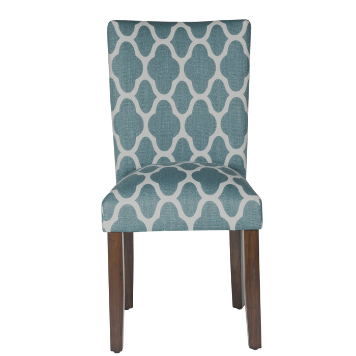 Classic Parsons Dining Chair -  Geo Teal - Set of 2