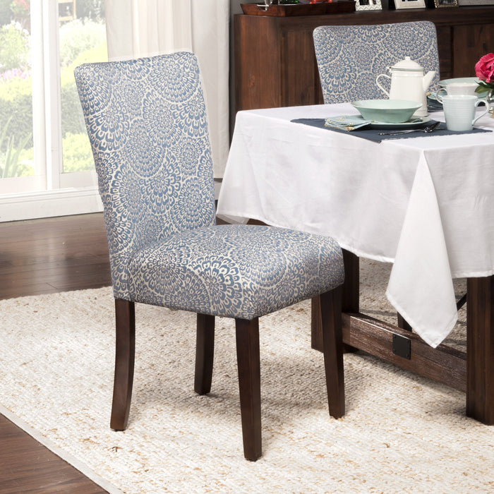 Classic Parsons Dining Chair - Navy and Cream Floral - Set of 2