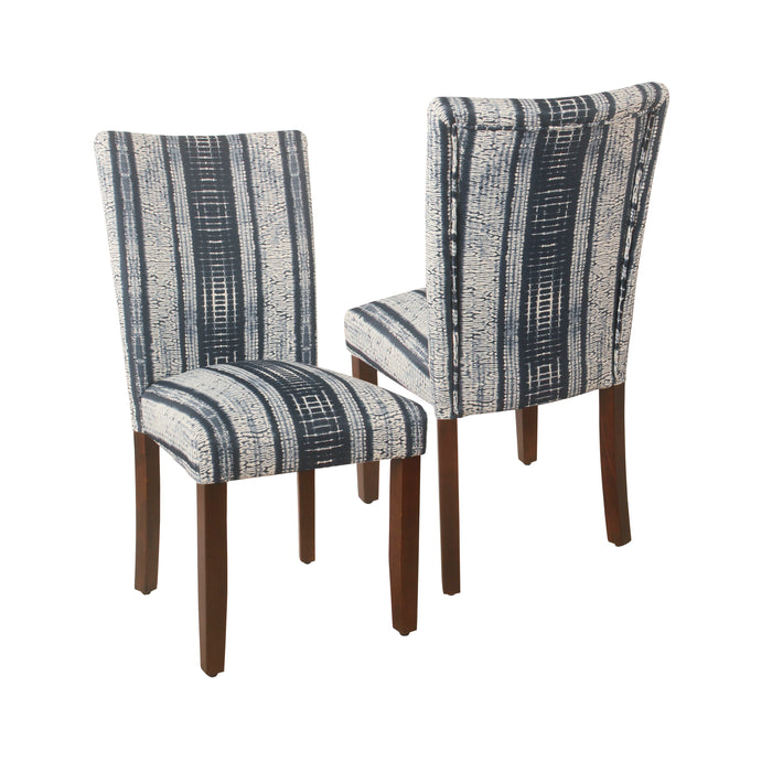 HomePop Classic Parsons Dining Chair -Indigo Stripes (Set of 2)