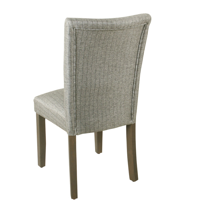 HomePop Classic Parsons Dining Chair - Gray stripe (Set of 2)