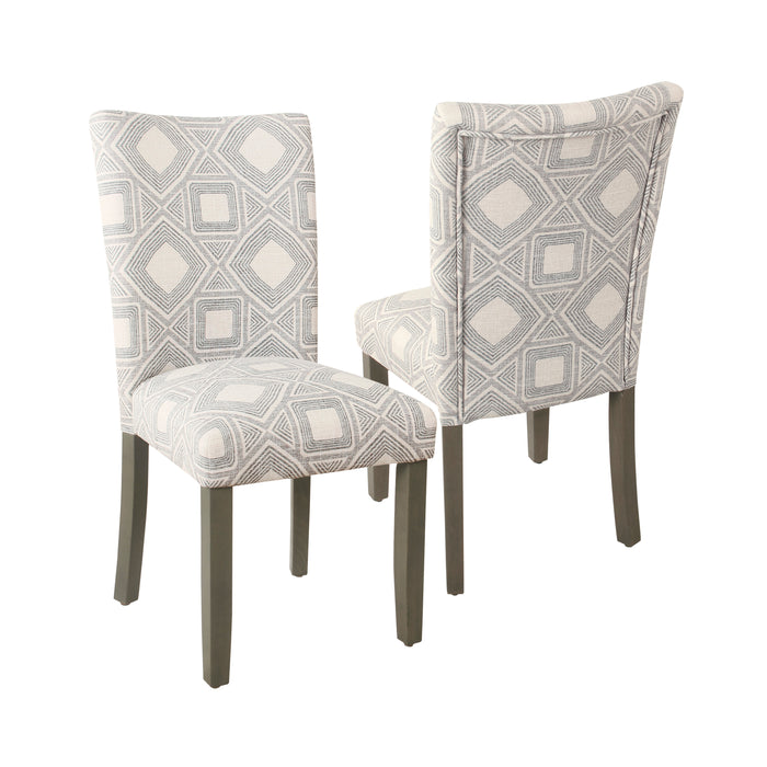 HomePop Classic Parsons Dining Chair -Charcoal Square Geometric (Set of 2)