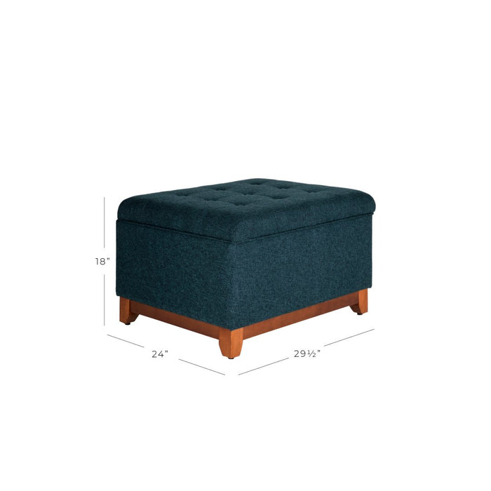 Square Tufted Bench with Wood Apron - Navy Blue