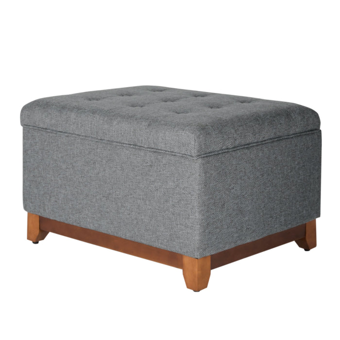 HomePop Square Tufted Bench with Wood Apron - Gray