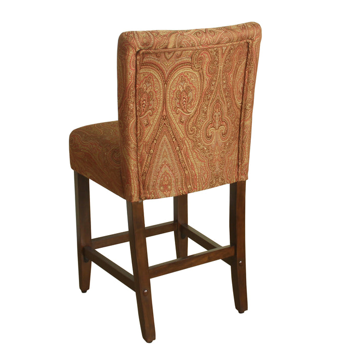 "24"" Classic Counter Stool - Red and Gold Damask"