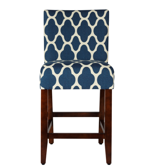 "24""Classic Counter Stool - Navy Geometric"