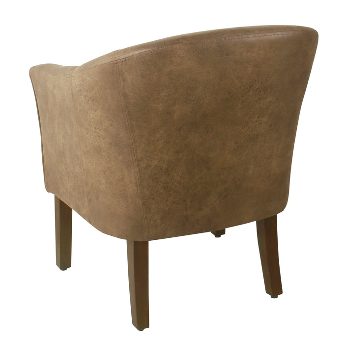 HomePop Modern Barrel Accent Chair -Brown Faux Leather