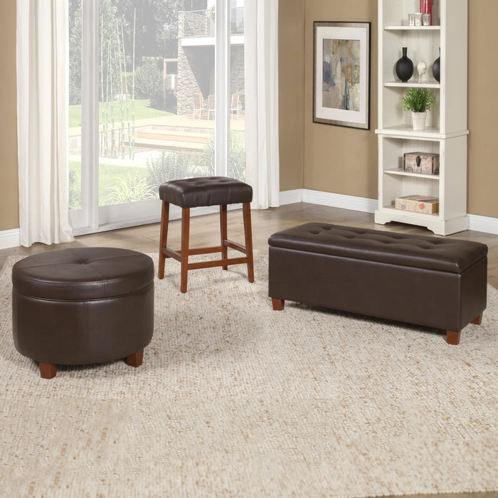 Leatherette Large Storage Bench - Brown