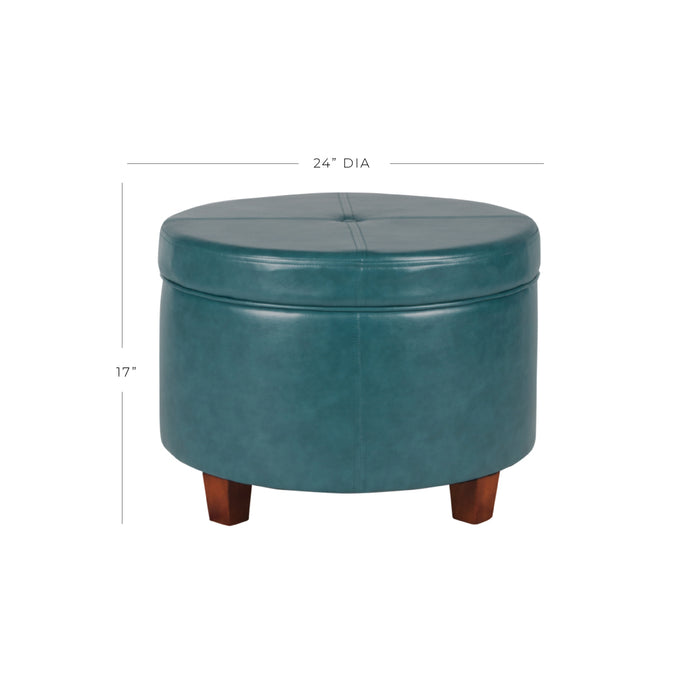 Large Leatherette Storage Ottoman - Teal Faux Leather