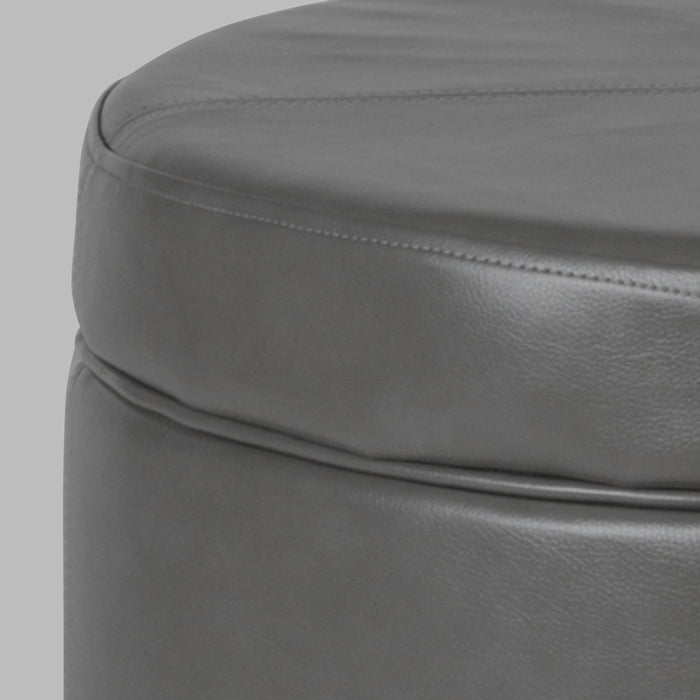 Large Leatherette Storage Ottoman - Gray Faux Leather