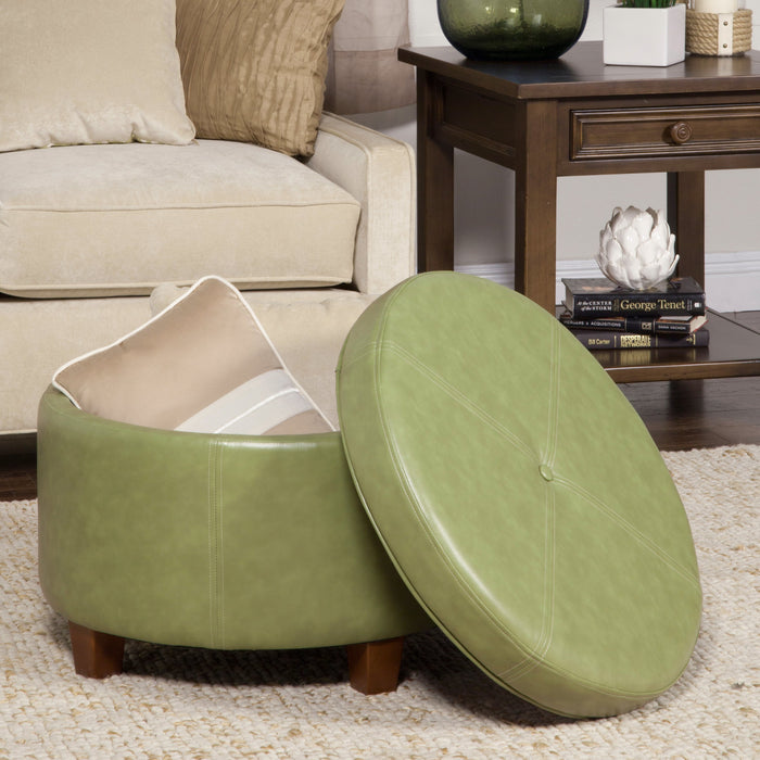 Large Leatherette Storage Ottoman - Green Faux Leather