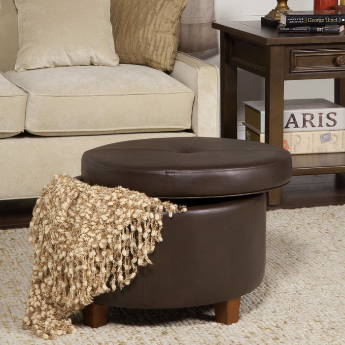Large Leatherette Storage Ottoman - Brown Faux Leather