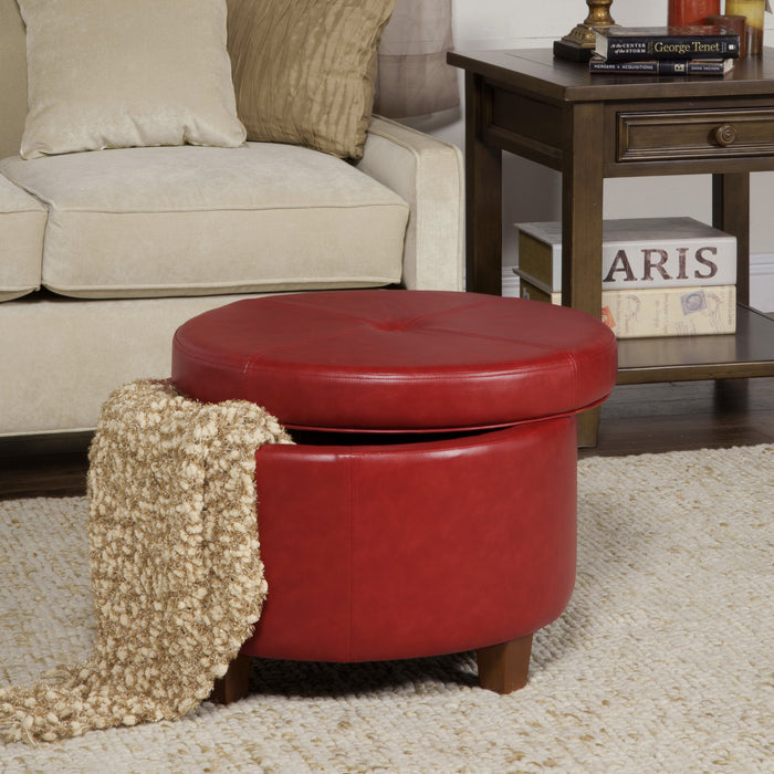 Large Leatherette Storage Ottoman - Red Faux Leather