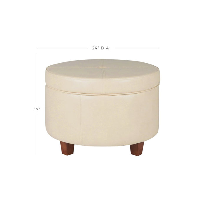 Large Leatherette Storage Ottoman - Cream Faux Leather