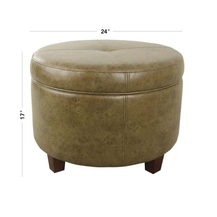 Large Leatherette Storage Ottoman - Distressed Brown Faux Leather