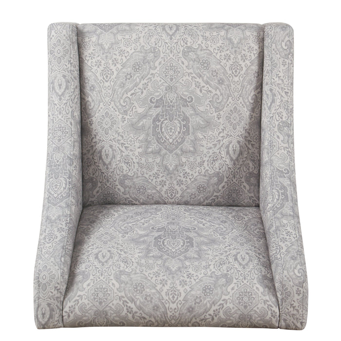 Modern Swoop Arm Chair - Gray Damask